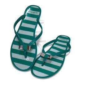 Coach Landon Green & White Stripe Jelly Flip Flops